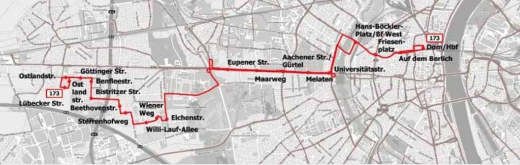 Neue Buslinie 173 Weiden - Junkersdorf - Aachener Str. - Friesenplatz - Dom/HBf